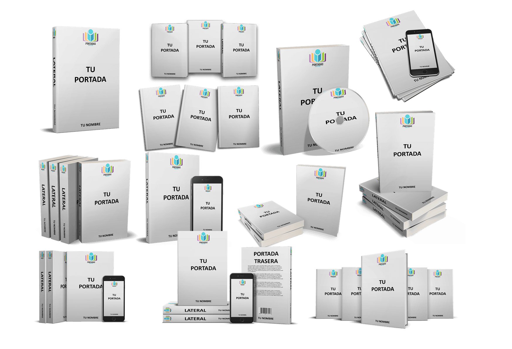 Ebooks mockup psd smart objets